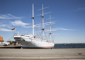 Germany, Mecklenburg-Western Pomerania, Stralsund, Harbour, Sail training ship Gorch Fock, museum ship - MAM00483