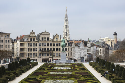Belgium, Brussels, View from Mont des Arts, Townhall and lower city - WI03864