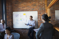 Business people meeting at whiteboard in conference room - HEROF28875