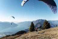 Switzerland, Ticino, Locarno, Ascona, Lake Maggiore, Paragliders - WFF00032