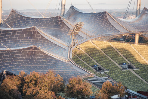 Germany, Munich, Olympic Park, Olympic Stadium, tent roof construction in the morning light - WFF00042