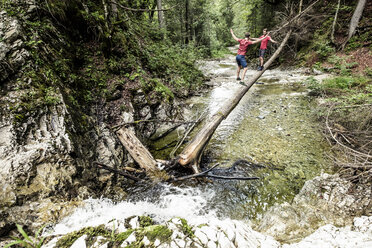 Germany, Bavaria, Upper Bavaria, lake Walchen, two young men are crossing a torrent on a tree trunk, twins - WFF00053
