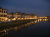 Italy, Tuscany, Florence, Arno river, View from Ponte alla Carraia at night - LAF02232