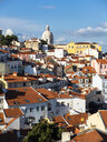 Portugal, Lisbon, Alfama, View from Miradouro de Santa Luzia over district, National Pantheon in the background - AMF06838