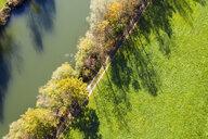 Germany, Bavaria, Upper Bavaria, Alpine foothills, Toelzer Land, Aerial view of Loisach near Eurasburg in autumn, riverside - SIEF08437