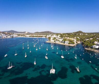 Mallorca, Santa Ponca, Aerial view of bay with sailing boats - AMF06846