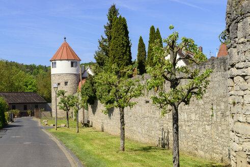 Gasturm mit Stadtmauer, Eibelstadt am Main, Unterfranken, Franken, Bayern, Deutschland - LBF02472
