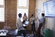 Designers meeting brainstorming reviewing proofs in conference room - HEROF30522