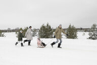 Family having fun with sledge in snow-covered landscape - EYAF00029