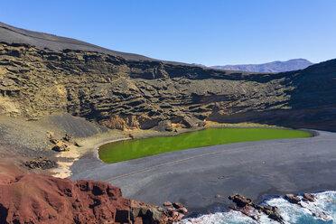 Spain, Canary Islands, Lanzarote, Aerial view of El Golfo, Charco de los Clicos, Montana del Golfo, Lago Verde - SIEF08456