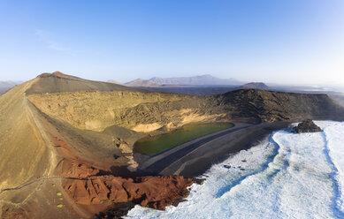 Spain, Canary Islands, Lanzarote, Aerial view of El Golfo, Charco de los Clicos, Montana del Golfo, Lago Verde - SIEF08459
