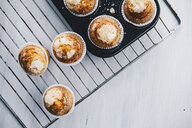 Home-baked muffins in muffin tray on cooling grid - ERRF00804