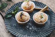 Home-baked muffins with cinnamon and mint on plate - ERRF00816