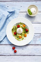 Zucchini noodles with baked tomatoes, burrata cheese, pepper and olive oil - LVF07924