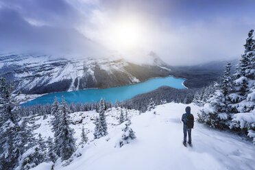 Canada, Alberta, Banff National Park, Peyto Lake, man enjoying view - EPF00584