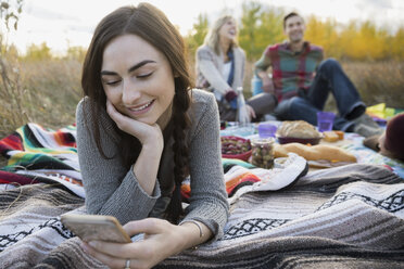 Young woman texting on picnic blanket - HEROF32635