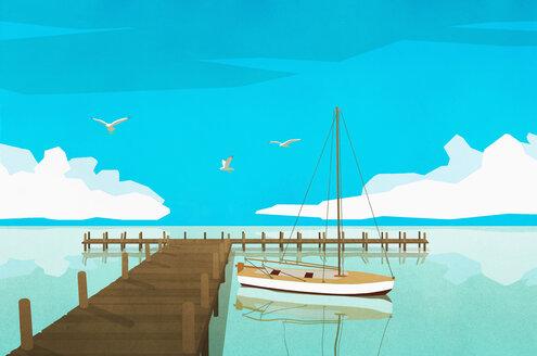 Sailboat moored at tranquil ocean dock - FSIF03779