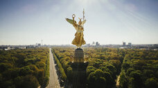 Drone point of view Victory Column and sunny Tiergarten Park, Berlin, Germany - FSIF03905
