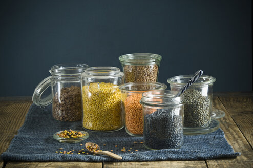Preserving jars with various sorts of lentils - ASF06353