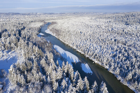 Germany, Bavaria, aerial view over Isar river and Isar floodplains betwenn Geretsried and Wolfratshausen in winter - SIEF08472