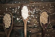 Spelt, barley and buckweath on spoons - GIOF05943