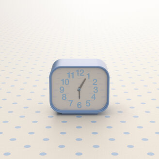 3D rendering, Alarm clock on background with polka dits - UWF01509