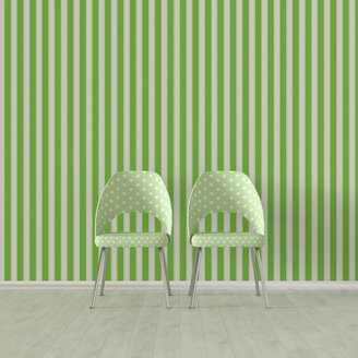 3D rendering, Two chairs in front of striped wallpaper - UWF01527