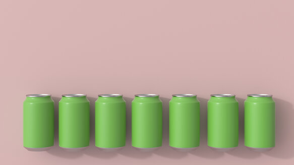 3D rendering, Green beverage cans on pink background - UWF01539