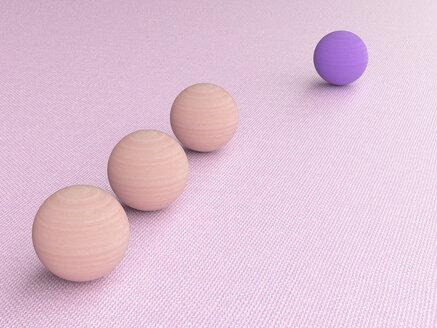3D rendering, Purple wood ball follwed by three pink ones - UWF01548