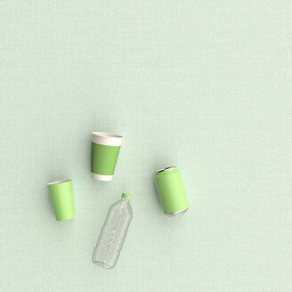 3D rendering, Plastic cups, can and bottle on green background - UWF01563