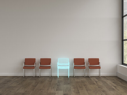 3D rendering, Hologram of chair in modern room with row of different chairs - UWF01566