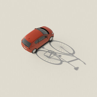 3D rendering, Red car casting shadow of a bicycle - UWF01575