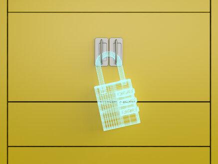 3D rendering, Hologram of a U-lock on a locker - UWF01584