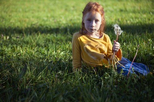 Portrait of girl sitting in field with blowball - GAF00124