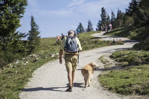 Senior wandert mit seinem Golden Retriever, Leinenpflicht in den Alpen, Freizeit, Kampenwand, Chiemgauer Alpen, Bayern, Deutschland - MAMF00506