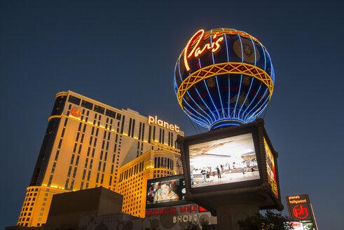 USA, Nevada, Las Vegas, Paris Las Vegas hotel at night - RUN01754