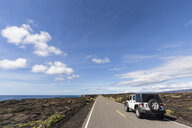 USA, Hawaii, Volcanoes National Park, lava fields, off-road vehicle on the Chain of Craters Road - FOF10521