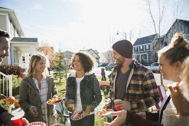 Neighbors enjoying potluck in sunny front yard - HEROF34540