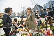 Neighbors enjoying potluck in sunny front yard - HEROF34543