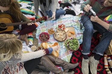Overhead view friends enjoying picnic - HEROF34570