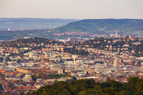 Germany, Baden-Wuerttemberg, Stuttgart, Cityscape with TV Tower in the evening, view from Birkenkopf - WDF05229