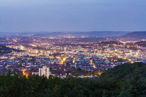 Germany, Baden-Wuerttemberg, Stuttgart, Cityscape with TV Tower in the evening, view from Birkenkopf - WDF05232