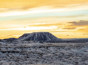 Iceland, snowy landscape surronding Krafla volcano and mountain in winter by sunrise - TAMF01272
