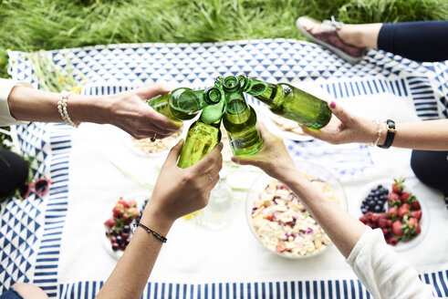 Top view of women clinking beer bottles at a picnic in park - IGGF00984