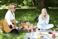 Women with guitar having fun at a picnic in park - IGGF00999