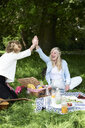 Two happy women high fiving at a picnic in park - IGGF01002