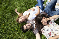 Top view of happy friends lying in a meadow in park - IGGF01020