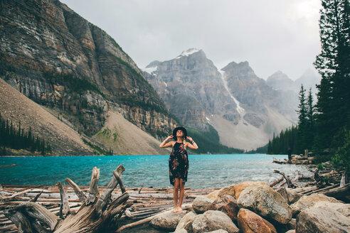 Woman enjoying view, Moraine Lake, Banff, Canada - ISF21095