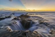 USA, Hawaii, Big Island, Kona, Pele's Well, Blowhole at aunset - FOF10597
