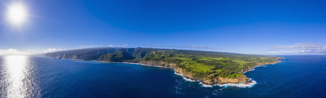 USA, Hawaii, Big Island, Pacific Ocean, Pololu Valley Lookout, Kohala Forest Reserve, Akoakoa Point, Aerial View - FOF10600